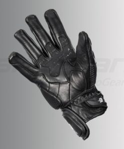 ASPIDA CENTAUR SEMI GAUNTLET LEATHER GLOVES: Black