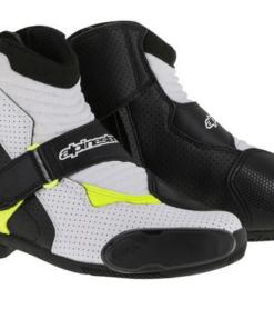 ALPINESTARS SMX-1 R VENTED BOOTS: Black / White / Fluorescent Yellow