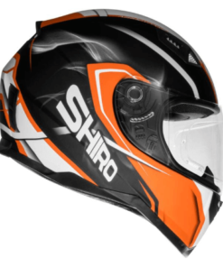 SHIRO SH-881 MOTEGI MATT HELMET: Black / Orange