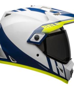 Bell MX-9 Adventure MIPS Dash Gloss Helmet: White / Blue HI-VIZ