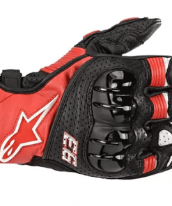 ALPINESTARS TWIN RING LEATHER GLOVES MM93: Red / Black / White