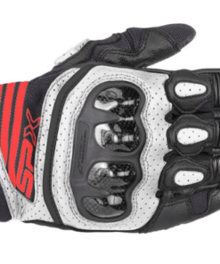 ALPINESTARS SPX AIR CARBON V2 GLOVES: Black / White / Fluorescent Red