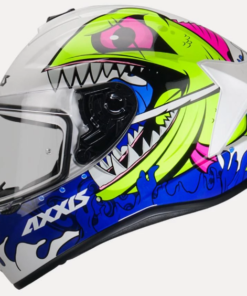 AXXIS DRAKEN VIPER FISH GLOSS HELMETS: Pearl White / Fluorescent Yellow