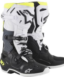 ALPINESTARS TECH 10 BOOTS: Black / White / Fluorescent Yellow