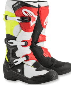 ALPINESTARS TECH 3 BOOTS: Black / White / Yellow / Flur Red